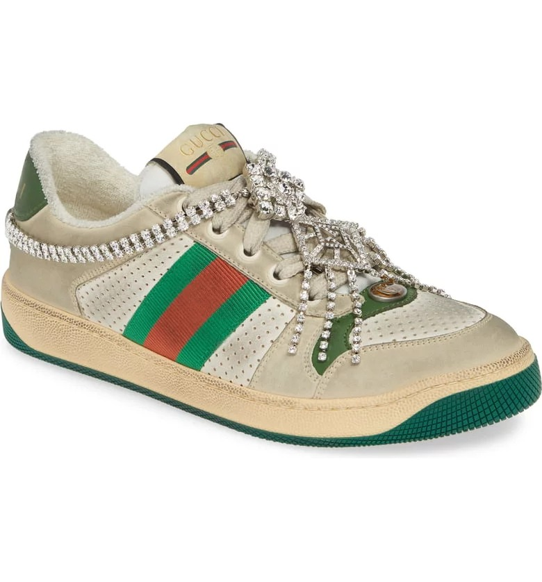 حذاء جوتشى رياضى سنيكرز لوو توب مرصع بالمجوهرات