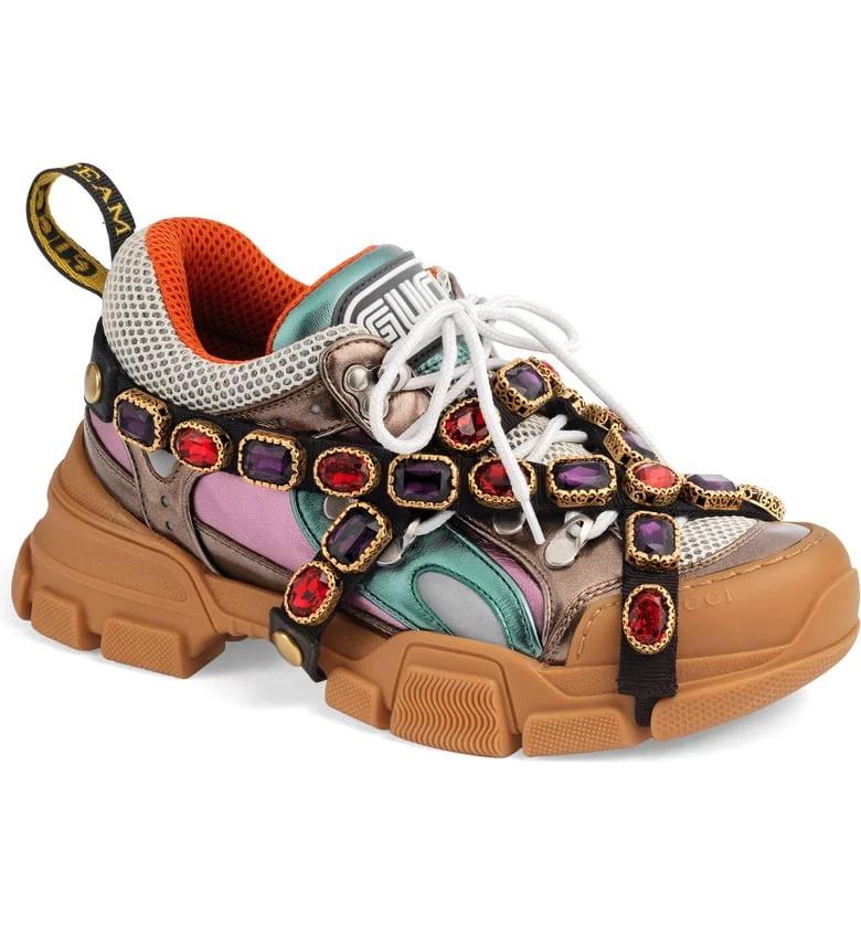 حذاء رياضى سنيكرز جوتشى فلاشتريك مزين بالمجوهرات