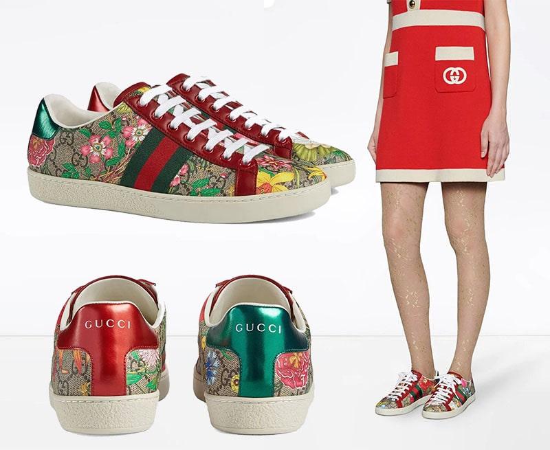 حذاء رياضي بدون رقبة بطبعة زهور