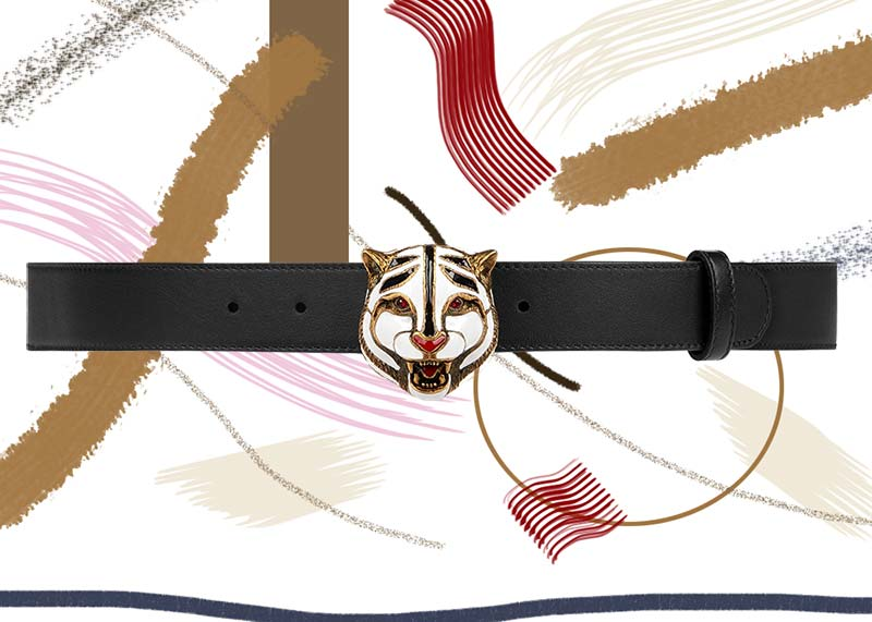 حزام جلد جوتشى مع وجة قط