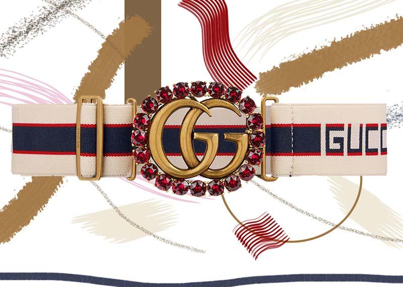 حزام جوتشى بشكل الشريط مع مشبك بشعارG متكرر مرصع بالكريستال