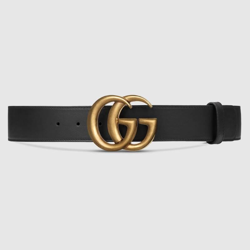 حزام جوتشى جلد أسود مع مشبك مزدوج بشعار G