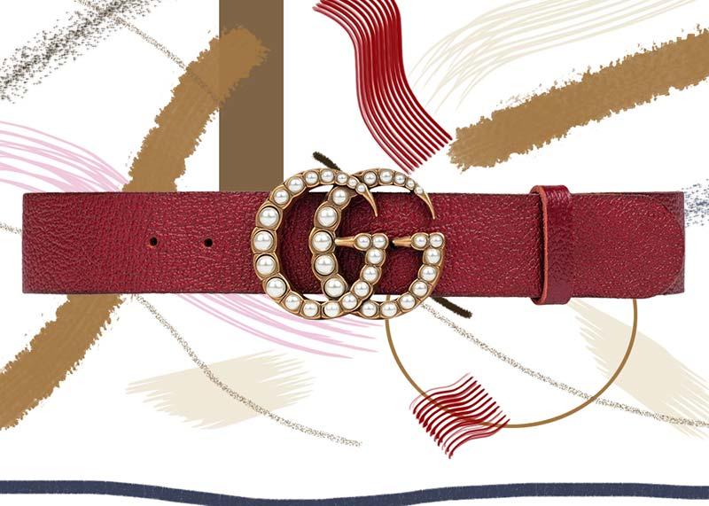 حزام جوتشى جلد مع مشبك بشعار Gمتكرر مرصع بالألىء2