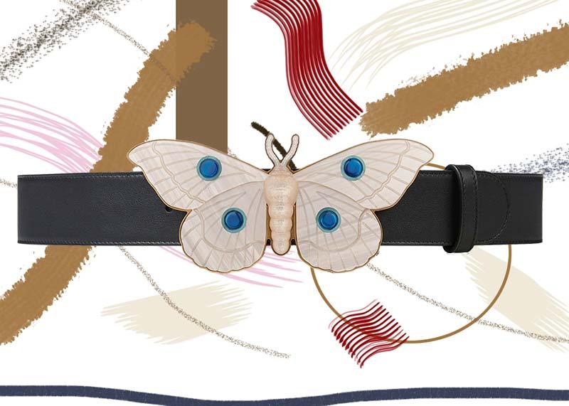 حزام جوتشى جلد مع مشبك فراشة