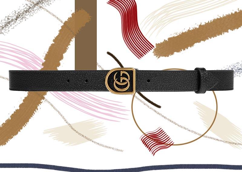 حزام جوتشى جلد مع مشبك مزدوج بشعار G داخل إطار معدنى