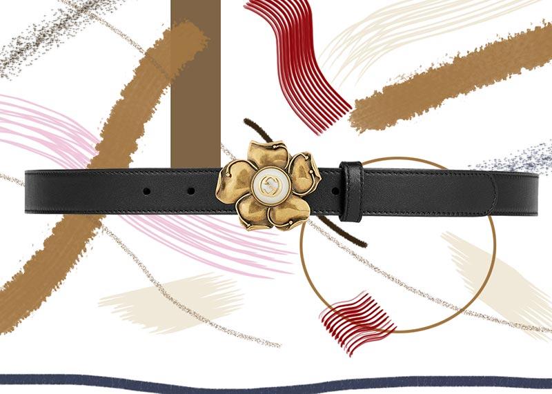 حزام جوتشى جلد مع وردة معدنية