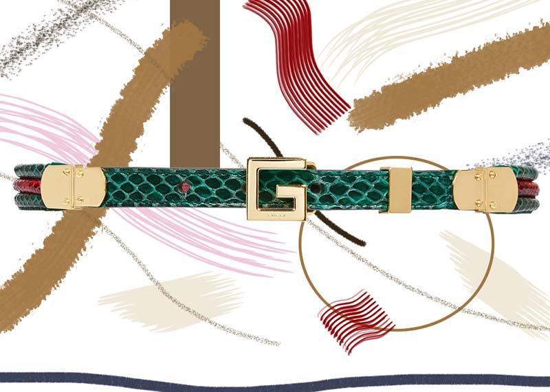 حزام جوتشى من جلد الثعبان بمشبك مربع بشعار G