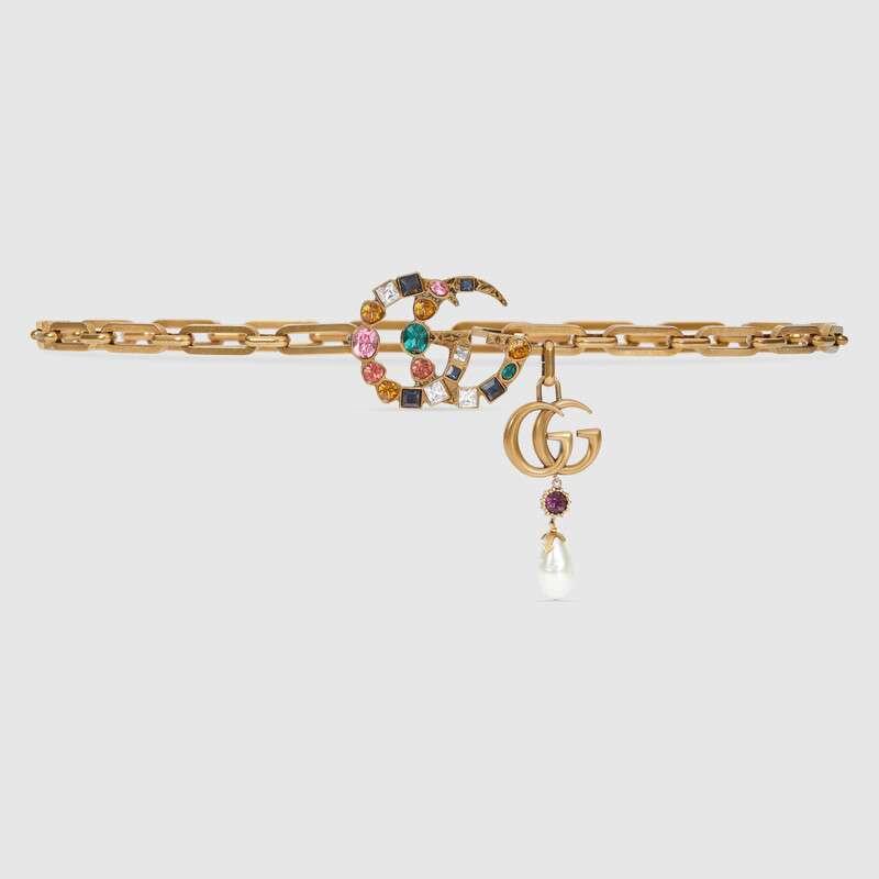حزام سلسلة من جوتشى بمشبك بشعار G مكرر مرصع بالكريستال