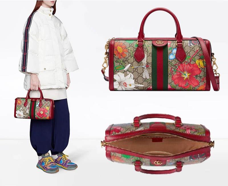 حقيبة أوفيديا بمقبض علوي ونقش GG وزهور