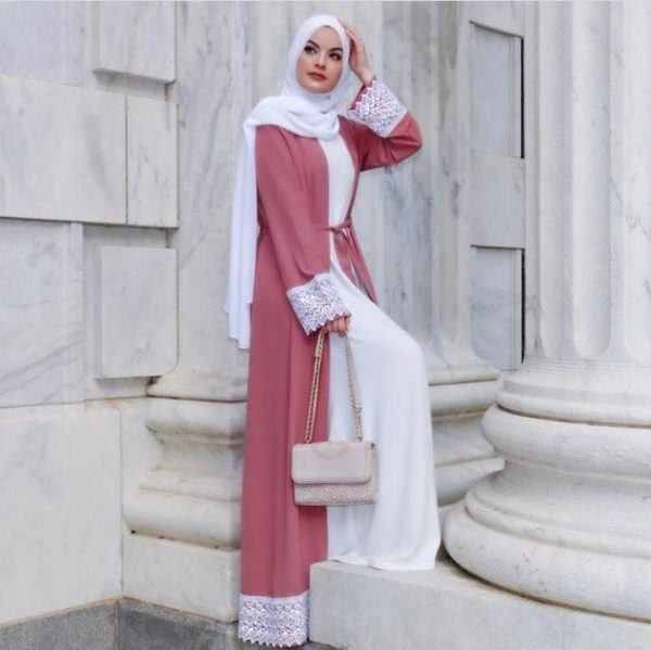 عباءة معطف مع فستان طويل