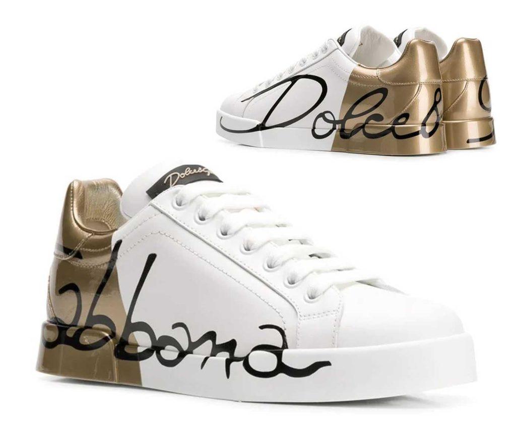 DOLCE & GABBANA حذاء بشعار ذهب